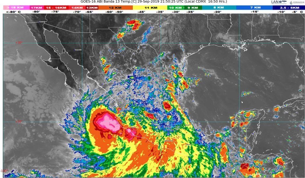 Narda ahora como Depresión Tropical, se ubica en tierra en el sur de Jalisco