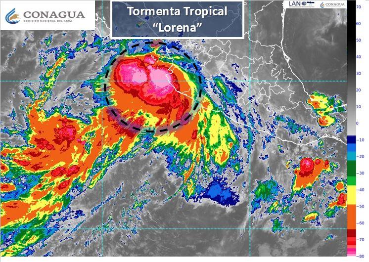 Lorena se degrada a Tormenta Tropical y se localiza nuevamente en el mar.
