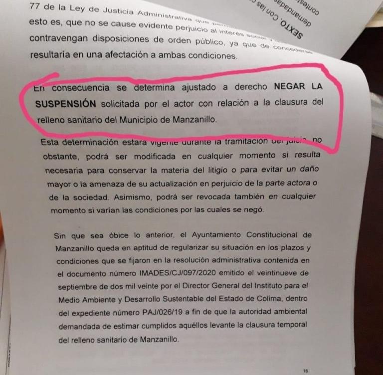 Niega suspensión el TJA al ayuntamiento porteño por clausura del relleno sanitario